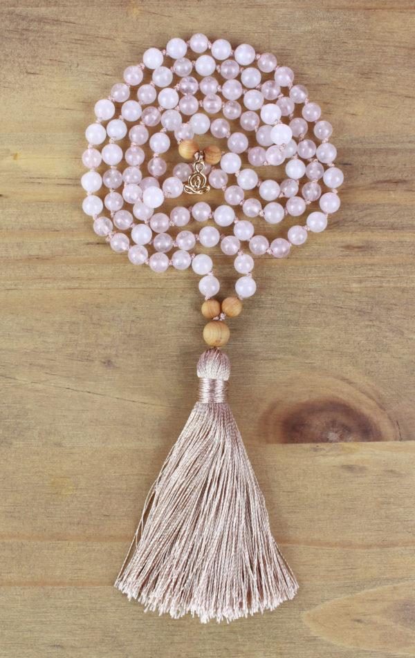 chapelet tibétain quartz rose en rond