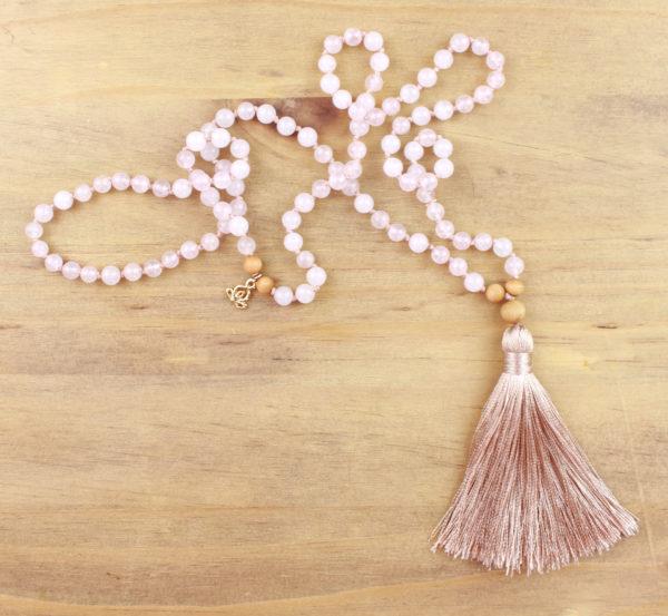 mala perle quartz rose