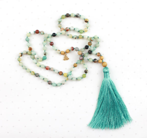 long mala perles amazonite